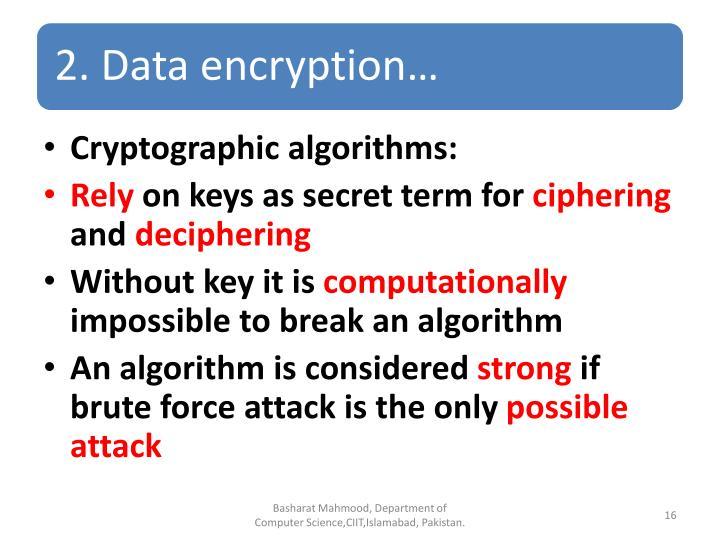 Cryptographic algorithms: