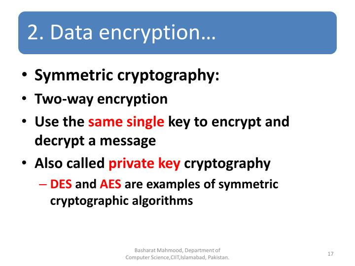 Symmetric cryptography: