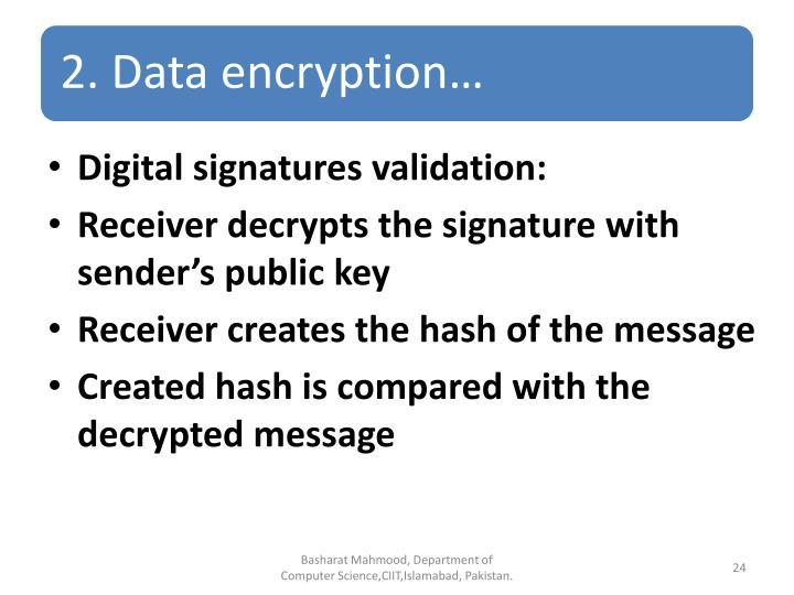 Digital signatures validation: