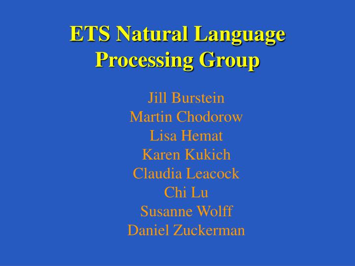 Ets natural language processing group