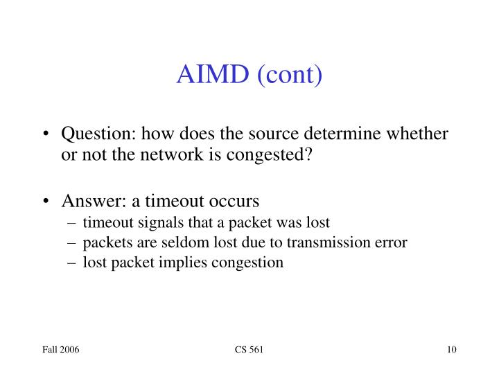 AIMD (cont)