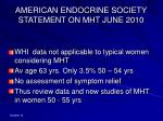 american endocrine society statement on mht june 2010