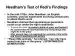 needham s test of redi s findings