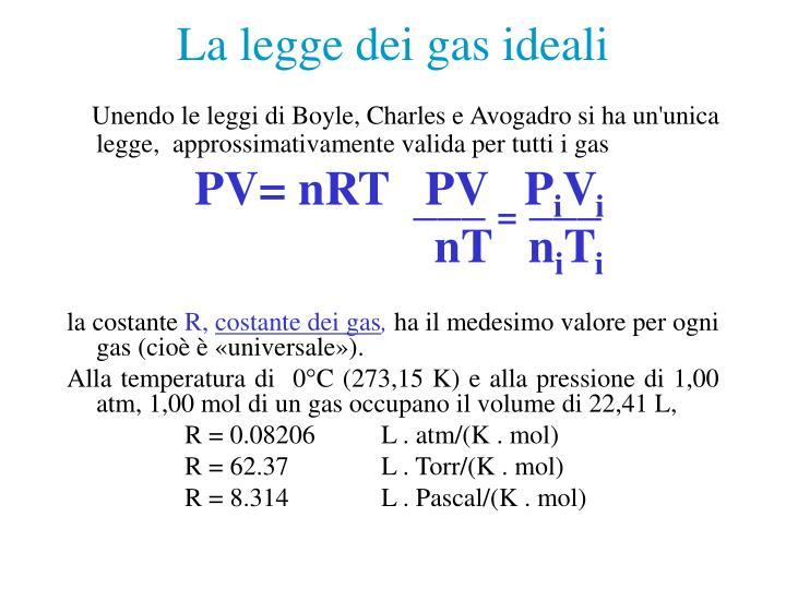 La legge dei gas ideali