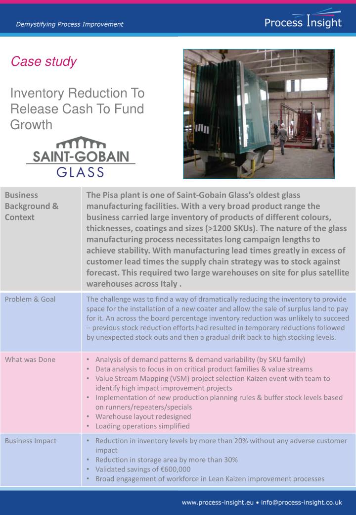 PPT - Case study Inventory Reduction To Release Cash To Fund