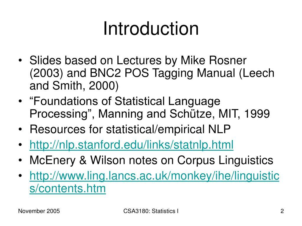 PPT - CSA3180: Natural Language Processing PowerPoint Presentation
