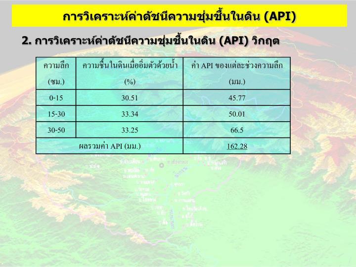 การวิเคราะห์ค่าดัชนีความชุ่มชื้นในดิน (