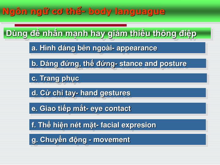 Ngôn ngữ cơ thể- body languague
