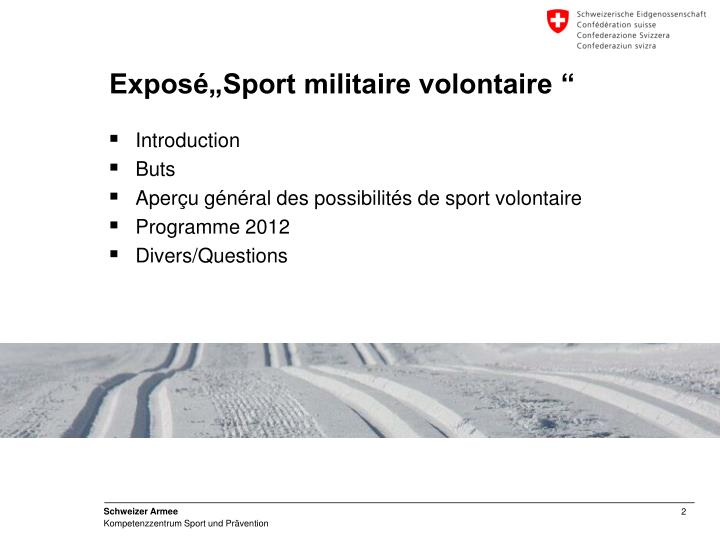 Expos sport militaire volontaire