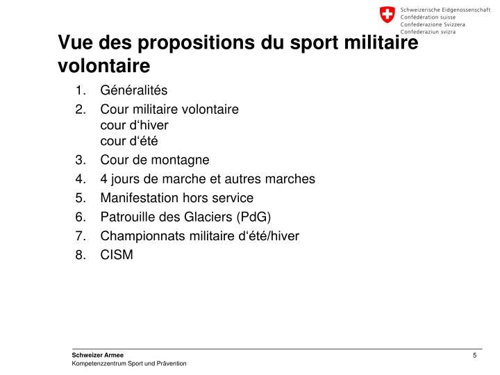 Vue des propositions du sport militaire volontaire