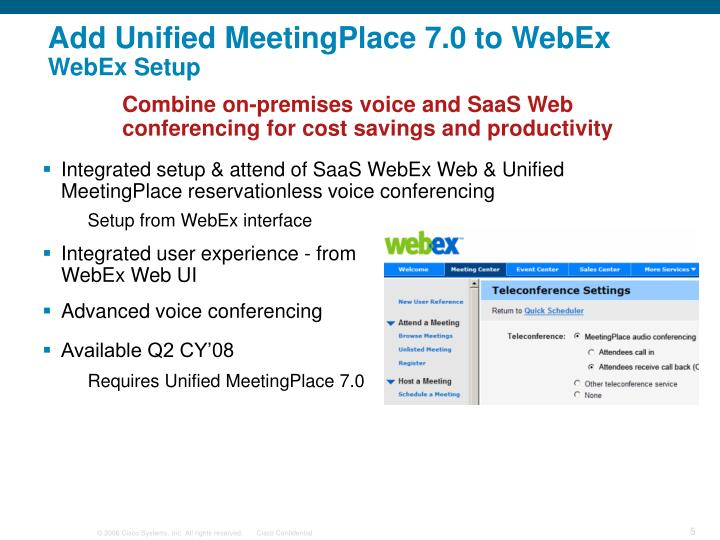 Add Unified MeetingPlace 7.0 to WebEx