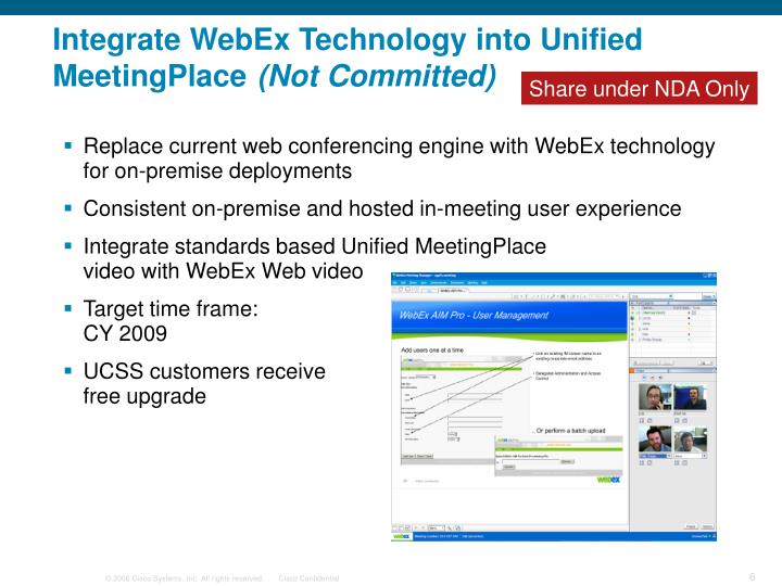 Integrate WebEx Technology into Unified MeetingPlace