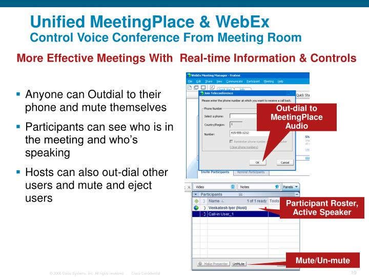 Out-dial to MeetingPlace Audio