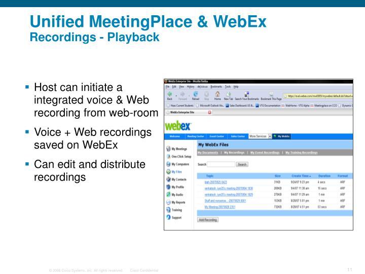 Unified MeetingPlace & WebEx