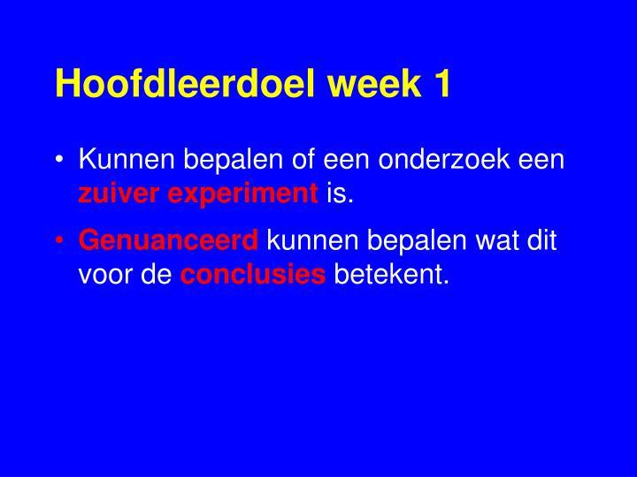 Hoofdleerdoel week 1