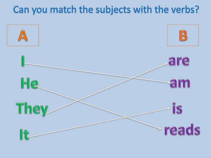 Can you match the subjects with the verbs?
