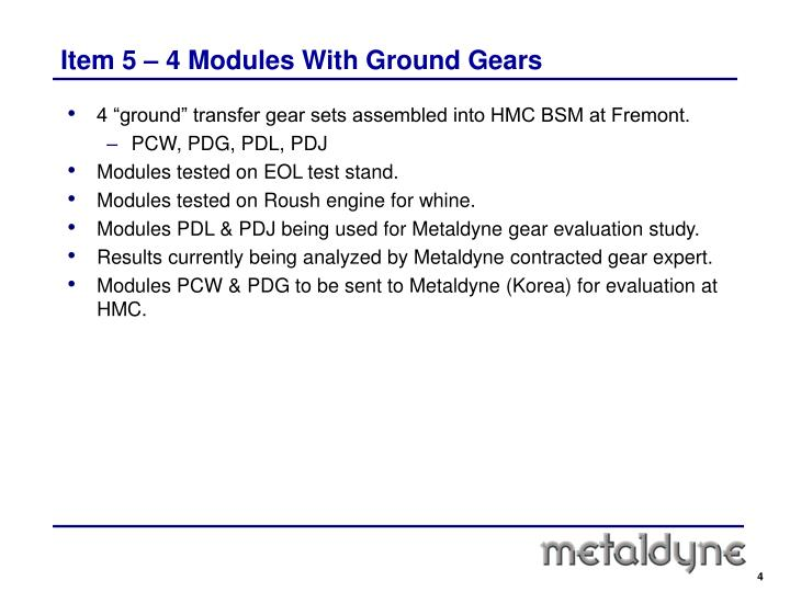 Item 5 – 4 Modules With Ground Gears