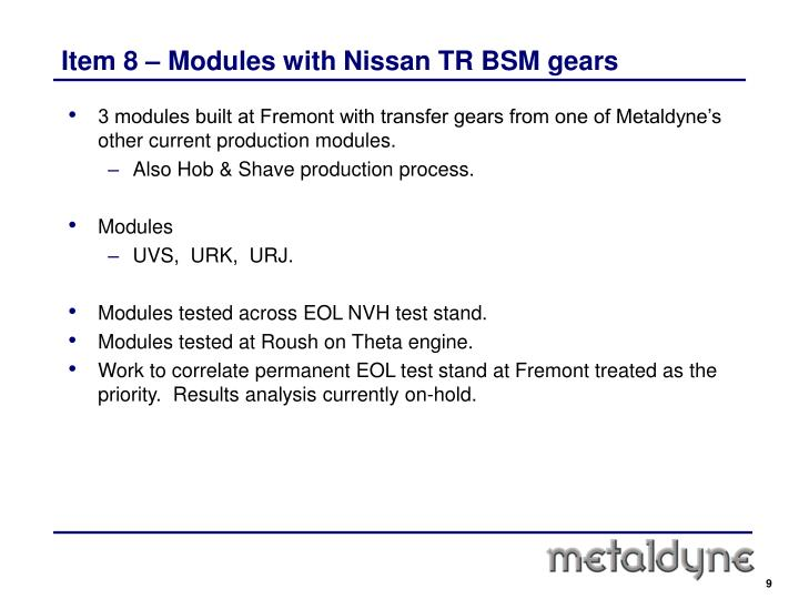 Item 8 – Modules with Nissan TR BSM gears