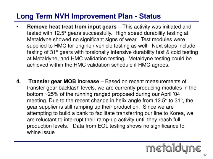 Long Term NVH Improvement Plan - Status