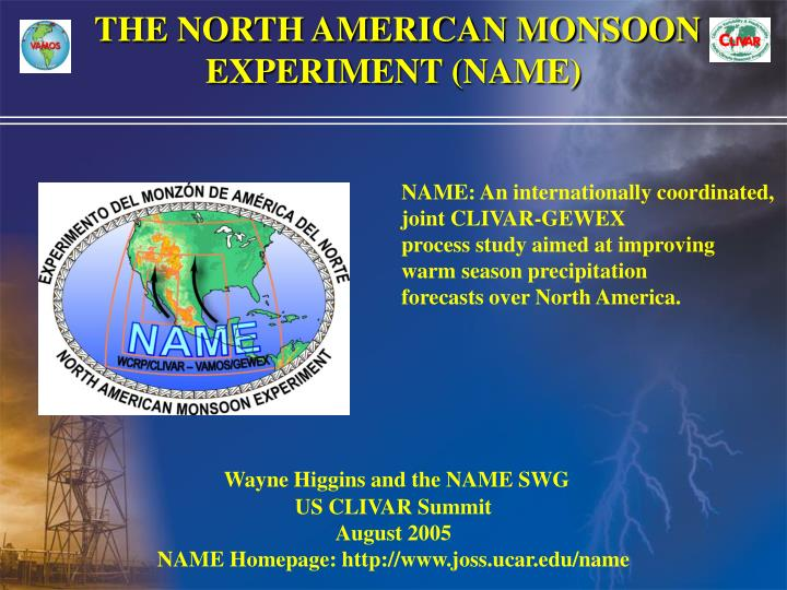 the north american monsoon experiment name n.