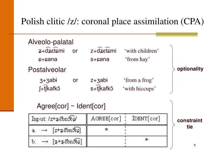 Polish clitic /z/: coronal place assimilation (CPA)
