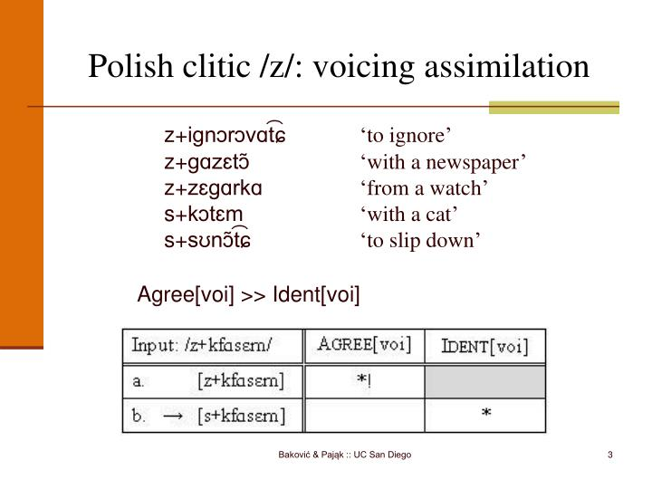 Polish clitic z voicing assimilation