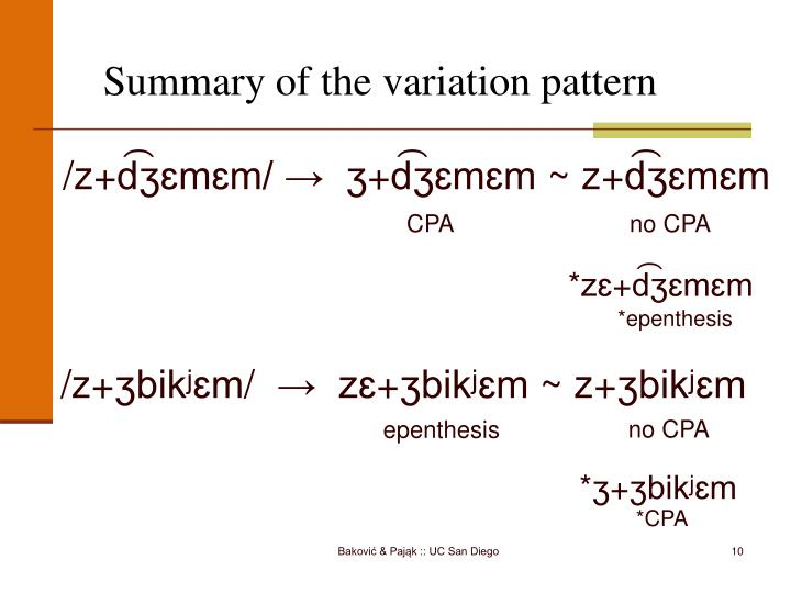 Summary of the variation pattern