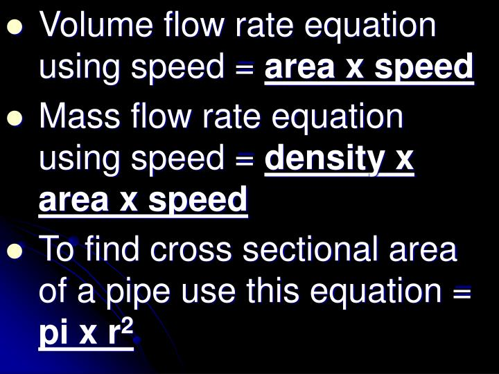 Volume flow rate equation using speed =