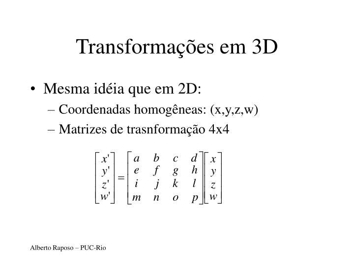 Transformações em 3D