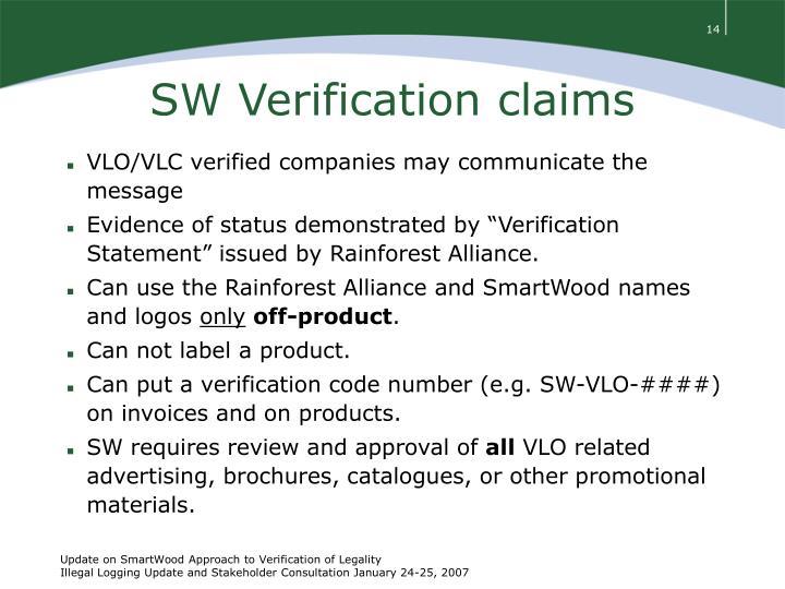 SW Verification claims