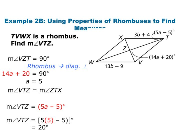 Example 2B: Using Properties of Rhombuses to Find Measures