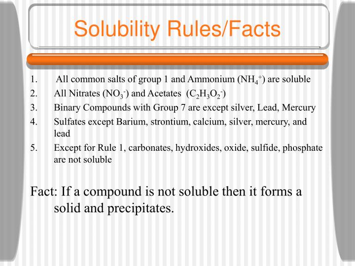 Solubility rules facts