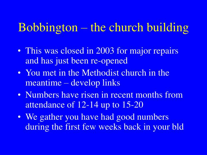 Bobbington – the church building