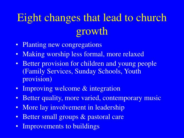 Eight changes that lead to church growth