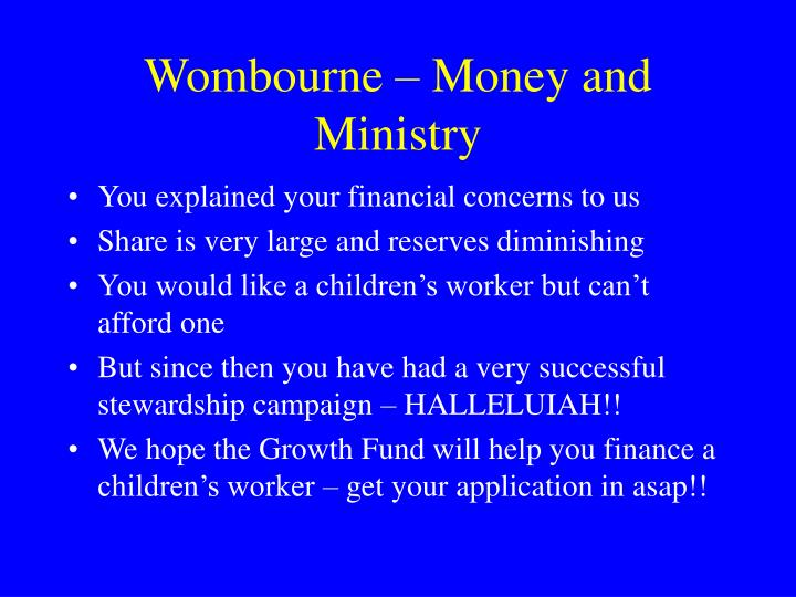 Wombourne – Money and Ministry