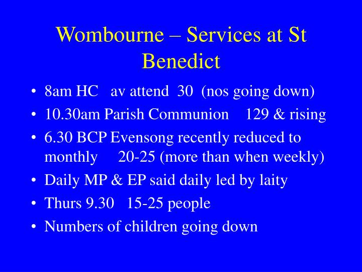 Wombourne – Services at St Benedict
