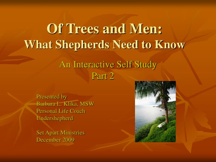 of trees and men what shepherds need to know n.