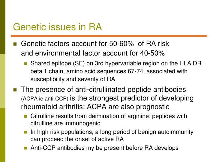 Genetic issues in RA
