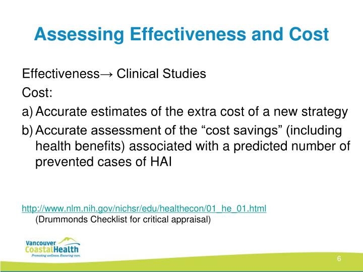Assessing Effectiveness and Cost