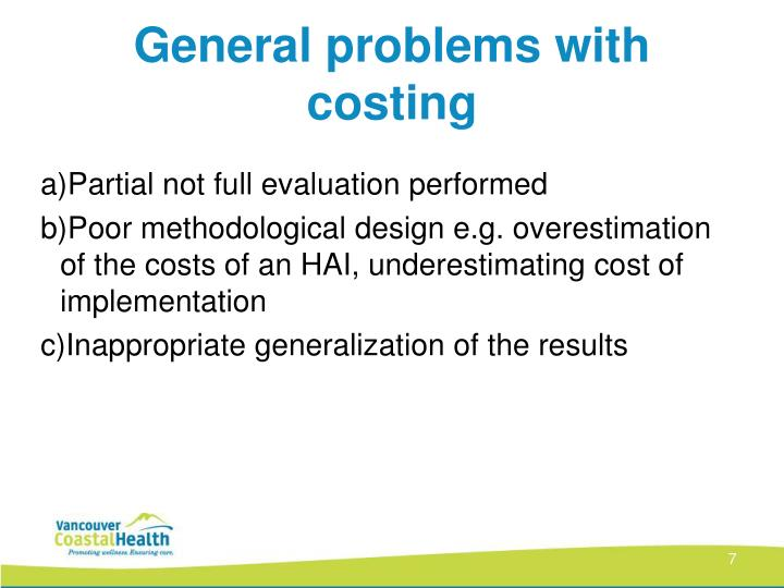 General problems with costing