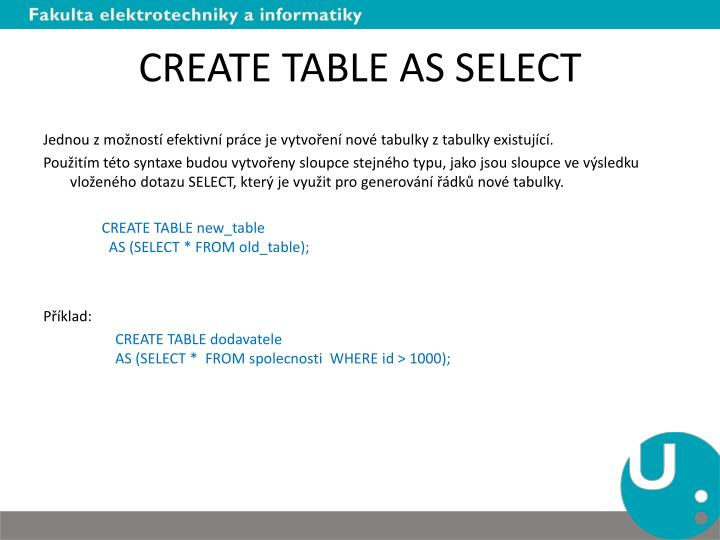 CREATE TABLE AS SELECT
