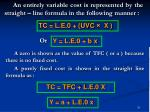 an entirely variable cost is represented by the straight line formula in the following manner