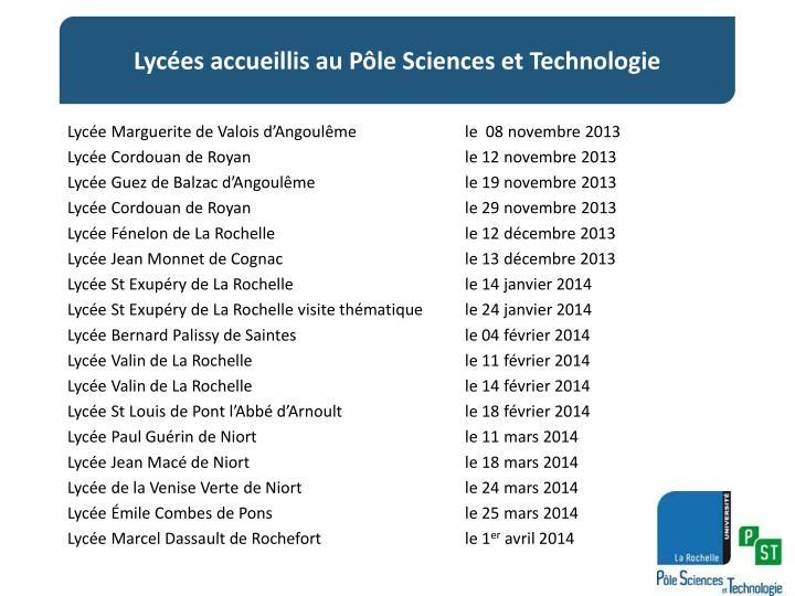 Lyc es accueillis au p le sciences et technologie