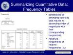 summarizing quantitative data frequency tables