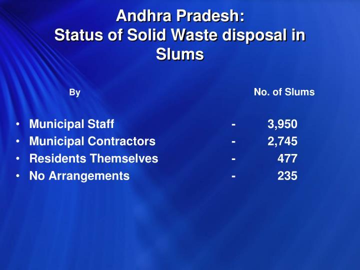 Andhra Pradesh:                                         Status of Solid Waste disposal in Slums