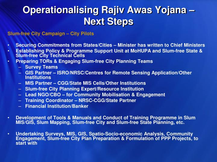 Operationalising Rajiv Awas Yojana – Next Steps