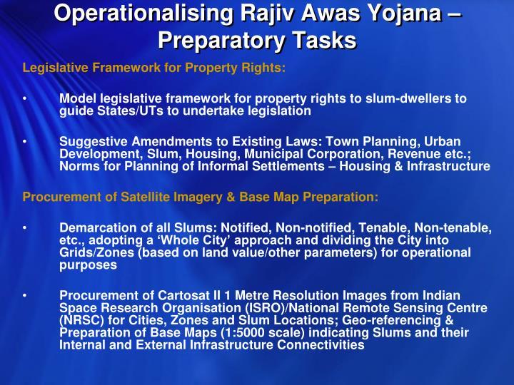Operationalising Rajiv Awas Yojana – Preparatory Tasks