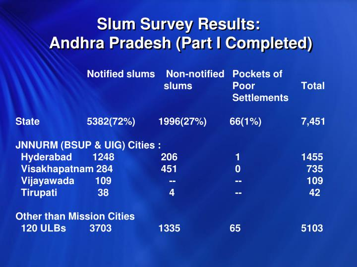 Slum Survey Results: