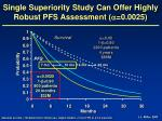 single superiority study can offer highly robust pfs assessment 0 0025