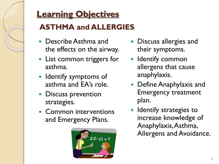 Learning objectives asthma and allergies